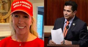 Left: Rep. Marjory Taylor Green (R-GA) Right: Rep. Jimmy Gomez (D-CA)