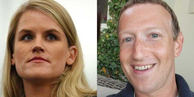 Left: Facebook whistleblower Francis Haugen, Right: Facebook Founder & CEO Mark Zuckerberg